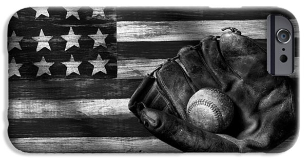 Folk Art American Flag And Baseball Mitt Black And White IPhone 6s Case by Garry Gay