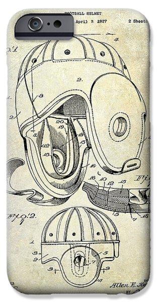 Football Helmet Patent IPhone Case by Jon Neidert