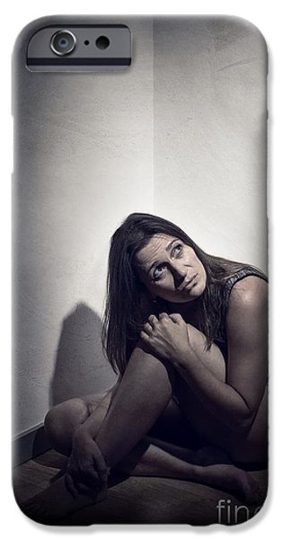 Frightened Woman IPhone Case by Carlos Caetano