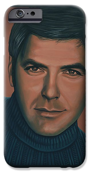 George Clooney Painting IPhone Case by Paul Meijering