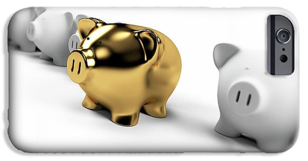 Gold And White Piggy Banks IPhone Case by Sebastian Kaulitzki