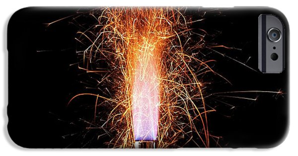 Iron Filings In A Gas Flame IPhone Case by Science Photo Library