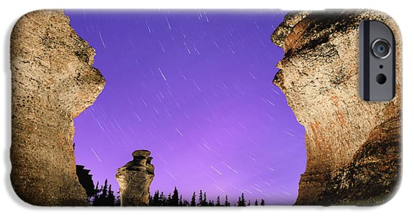 Light Painting On Monolith And Star IPhone Case by Yves Marcoux