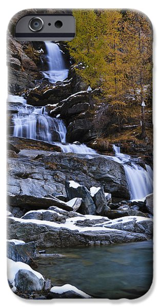 Lillaz Waterfall_ Cogne, Italy IPhone Case by Yves Marcoux