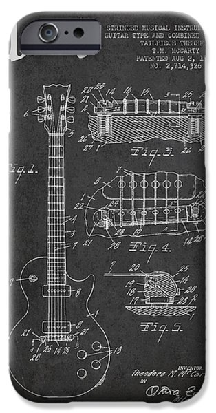 Mccarty Gibson Les Paul Guitar Patent Drawing From 1955 -  Dark IPhone Case by Aged Pixel