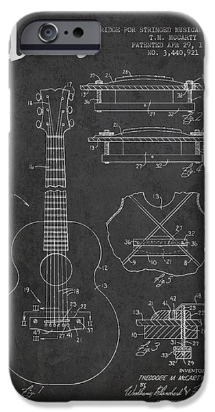 Mccarty Gibson Stringed Instrument Patent Drawing From 1969 - Dark IPhone Case by Aged Pixel