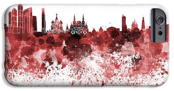 Moscow Skyline White Background IPhone 6s Case by Pablo Romero