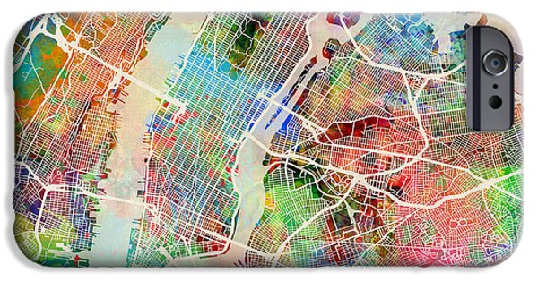 New York City Street Map IPhone Case by Michael Tompsett