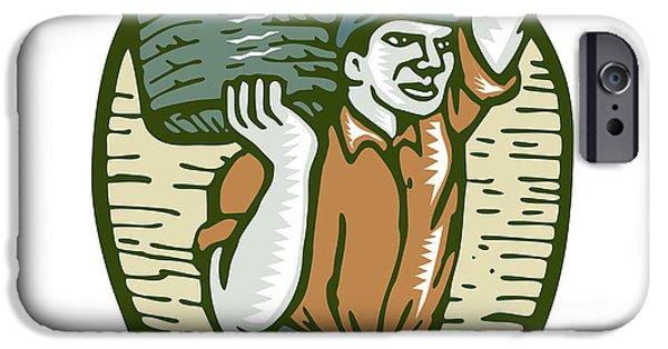 Organic Farmer Harvest Basket Woodcut Linocut IPhone Case by Aloysius Patrimonio