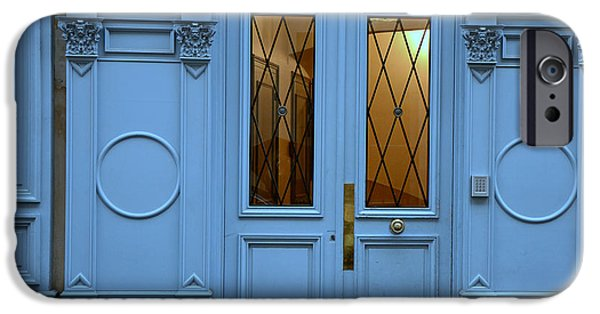 Paris Blue Door - Blue Aqua Romantic Doors Of Paris  - Parisian Doors And Architecture IPhone Case by Kathy Fornal