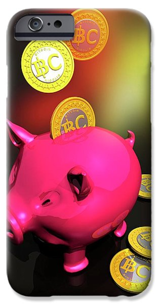 Piggy Bank And Bitcoins IPhone Case by Victor Habbick Visions