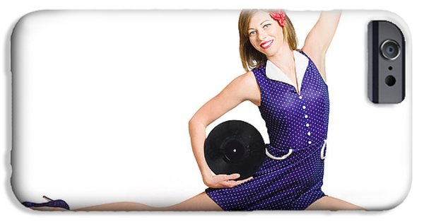 Pin-up Woman Balancing Sound With Record Music IPhone Case by Jorgo Photography - Wall Art Gallery