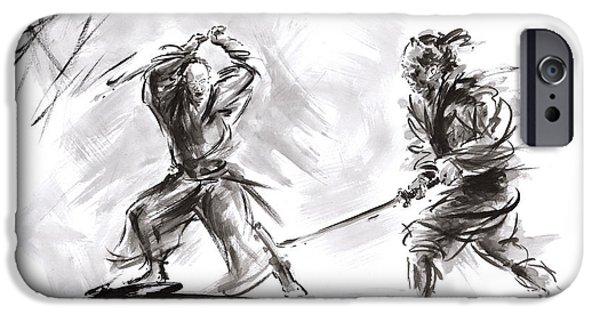 Samurai Fight. IPhone Case by Mariusz Szmerdt