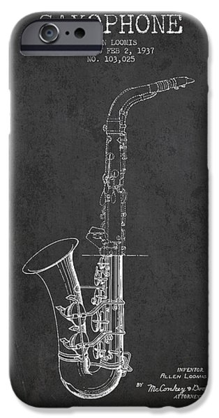 Saxophone Patent Drawing From 1937 - Dark IPhone 6s Case by Aged Pixel