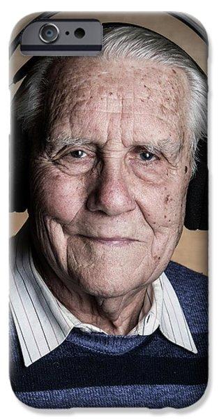Senior Man Wearing Headphones IPhone Case by Mauro Fermariello