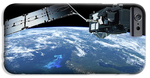 Sentinel-3 Satellite In Orbit IPhone Case by Atg Medialab/esa
