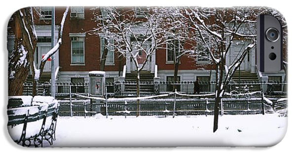 Snowcapped Benches In A Park IPhone Case by Panoramic Images
