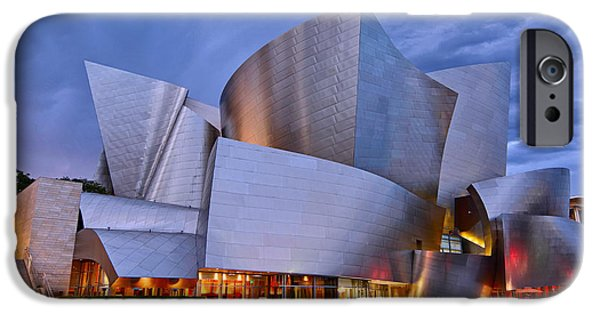 Sunset At The Walt Disney Concert Hall In Downtown Los Angeles. IPhone Case by Jamie Pham