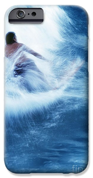 Surfer Carving On Splashing Wave, Interesting Perspective And Blur IPhone Case by Carl Shaneff