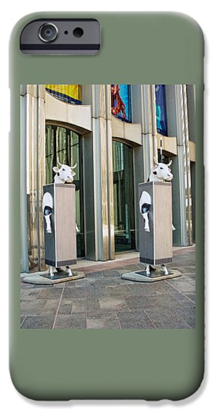 Cow Parade N Y C 2000 - Twin Cowers IPhone Case by Allen Beatty