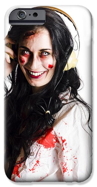 Woman Listening To Death Metal IPhone Case by Jorgo Photography - Wall Art Gallery