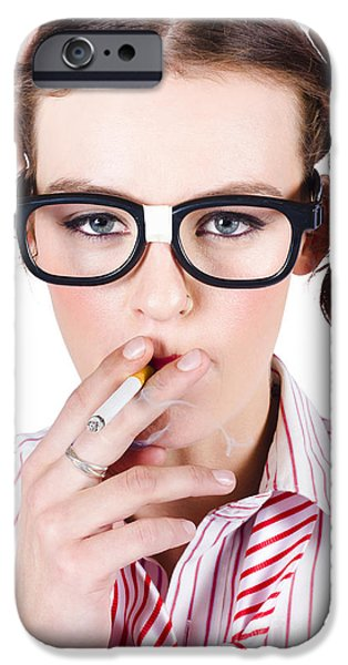 Woman Smoking Cigarette IPhone Case by Jorgo Photography - Wall Art Gallery