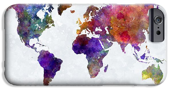 World Map In Watercolor  IPhone Case by Pablo Romero
