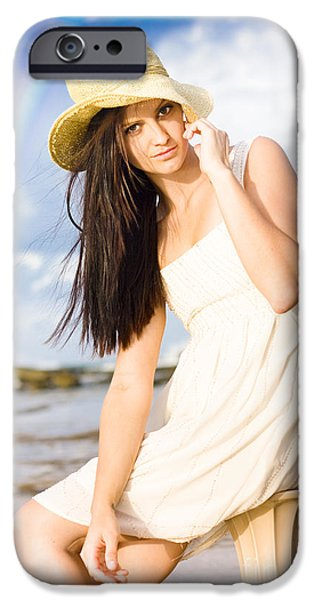 Young Woman Relaxing By The Sea IPhone Case by Jorgo Photography - Wall Art Gallery