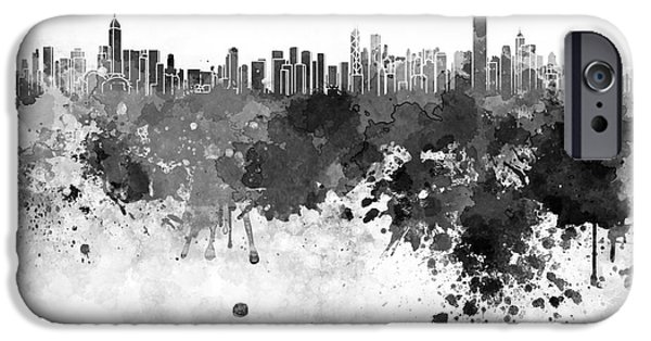 Hong Kong Skyline In Watercolor On White Background IPhone Case by Pablo Romero