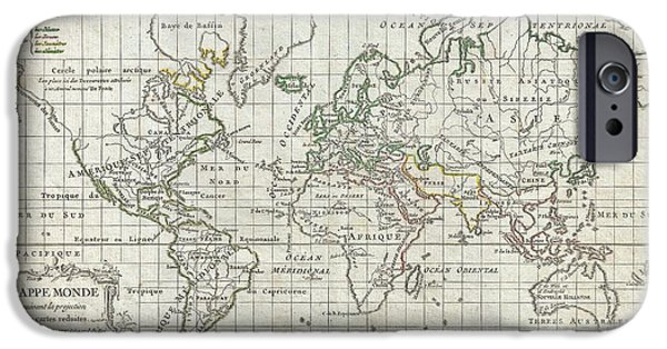 1784 Vaugondy Map Of The World On Mercator Projection IPhone Case by Paul Fearn