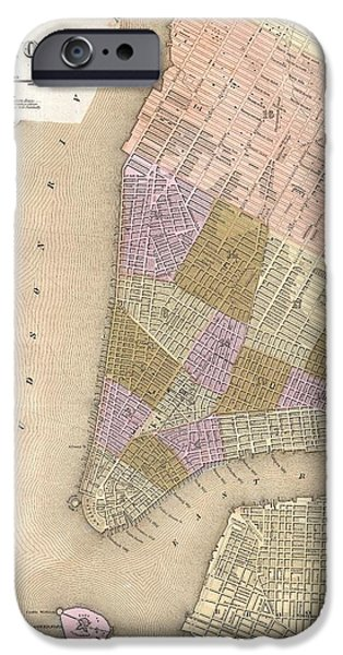 1839 Bradford Map Of New York City IPhone Case by Paul Fearn