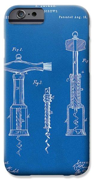 1876 Wine Corkscrews Patent Artwork - Blueprint IPhone Case by Nikki Marie Smith