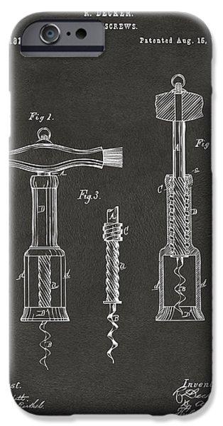 1876 Wine Corkscrews Patent Artwork - Gray IPhone Case by Nikki Marie Smith