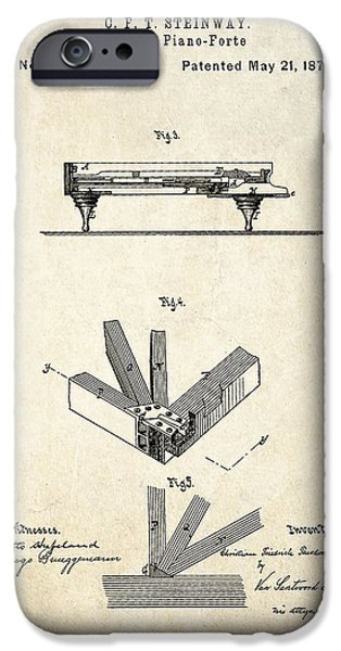 1878 Steinway Grand Piano Forte Patent Art S.2 IPhone Case by Gary Bodnar