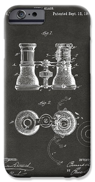 1882 Opera Glass Patent Artwork - Gray IPhone Case by Nikki Marie Smith