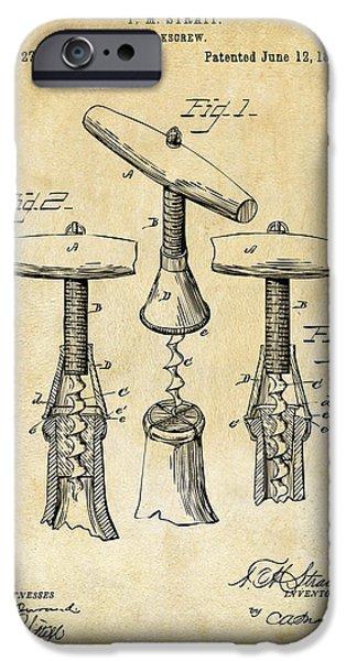 1883 Wine Corckscrew Patent Art - Vintage Black IPhone 6s Case by Nikki Marie Smith