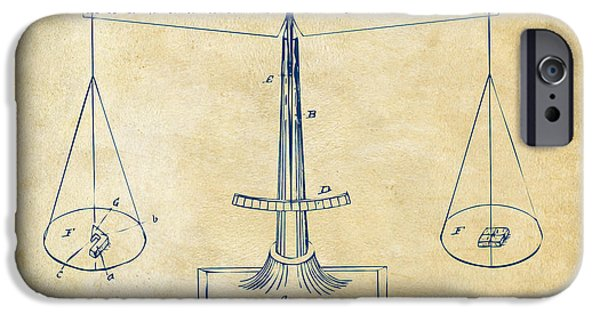 1885 Balance Weighing Scale Patent Artwork Vintage IPhone Case by Nikki Marie Smith
