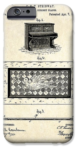 1885 Steinway Panel Patent Art IPhone Case by Gary Bodnar
