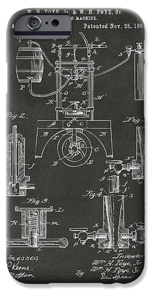 1890 Bottling Machine Patent Artwork Gray IPhone Case by Nikki Marie Smith
