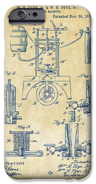 1890 Bottling Machine Patent Artwork Vintage IPhone Case by Nikki Marie Smith