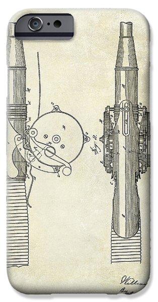 1890 Fishing Reel Patent Drawing  IPhone Case by Jon Neidert