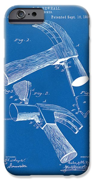 1890 Hammer Patent Artwork - Blueprint IPhone Case by Nikki Marie Smith