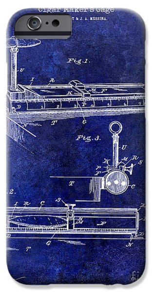 1893 Cigar Makers Gage Patent Drawing Blue IPhone Case by Jon Neidert