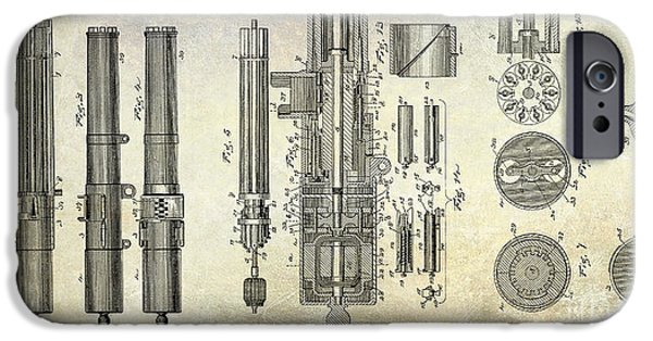 1893 Gatling Machine Gun Patent Drawing IPhone Case by Jon Neidert