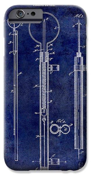 1896 Fishing Device Patent Drawing Blue IPhone Case by Jon Neidert