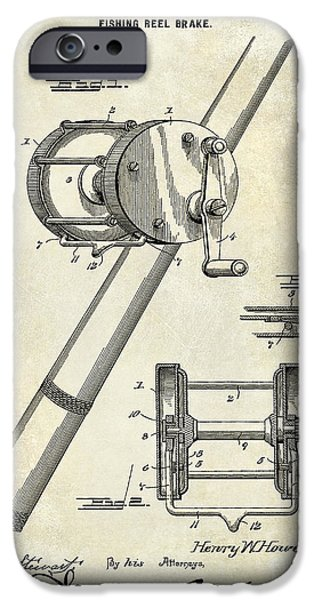 1899 Fishing Reel Brake Patent Drawing IPhone Case by Jon Neidert