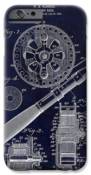 1906 Fishing Reel Patent Drawing Blue IPhone Case by Jon Neidert