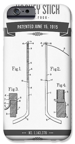 1915 Hockey Stick Patent Drawing - Retro Gray IPhone Case by Aged Pixel