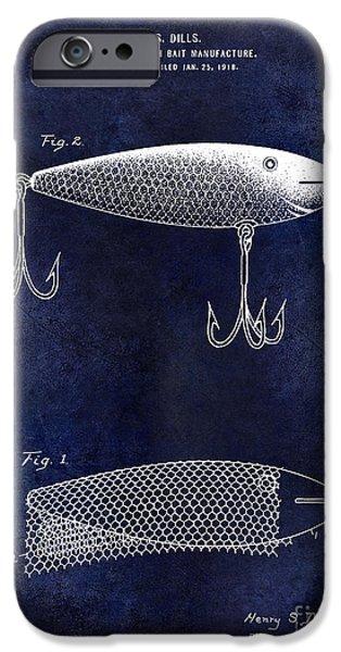 1921 Fish Bait Patent Drawing Blue IPhone Case by Jon Neidert