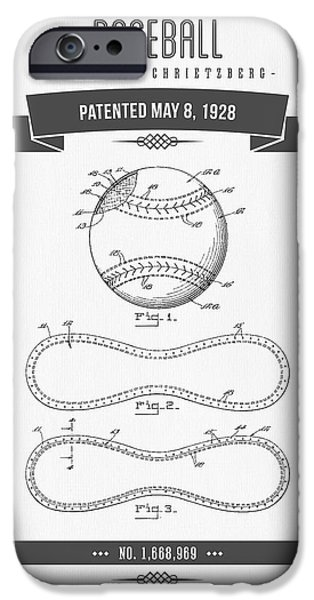 1928 Baseball Patent Drawing IPhone Case by Aged Pixel